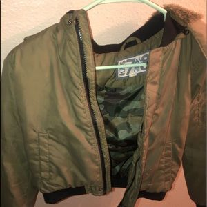 Boys bomber jacket with removable hood